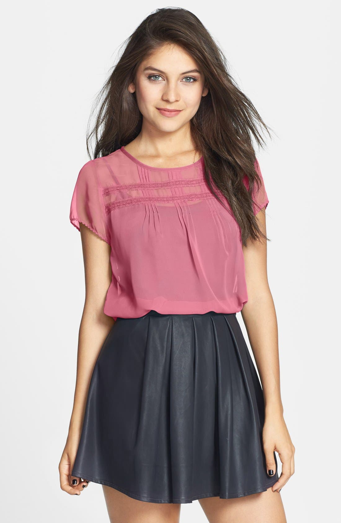 Main Image - Frenchi® Lace Trim Pintuck Pleat Top (Juniors)