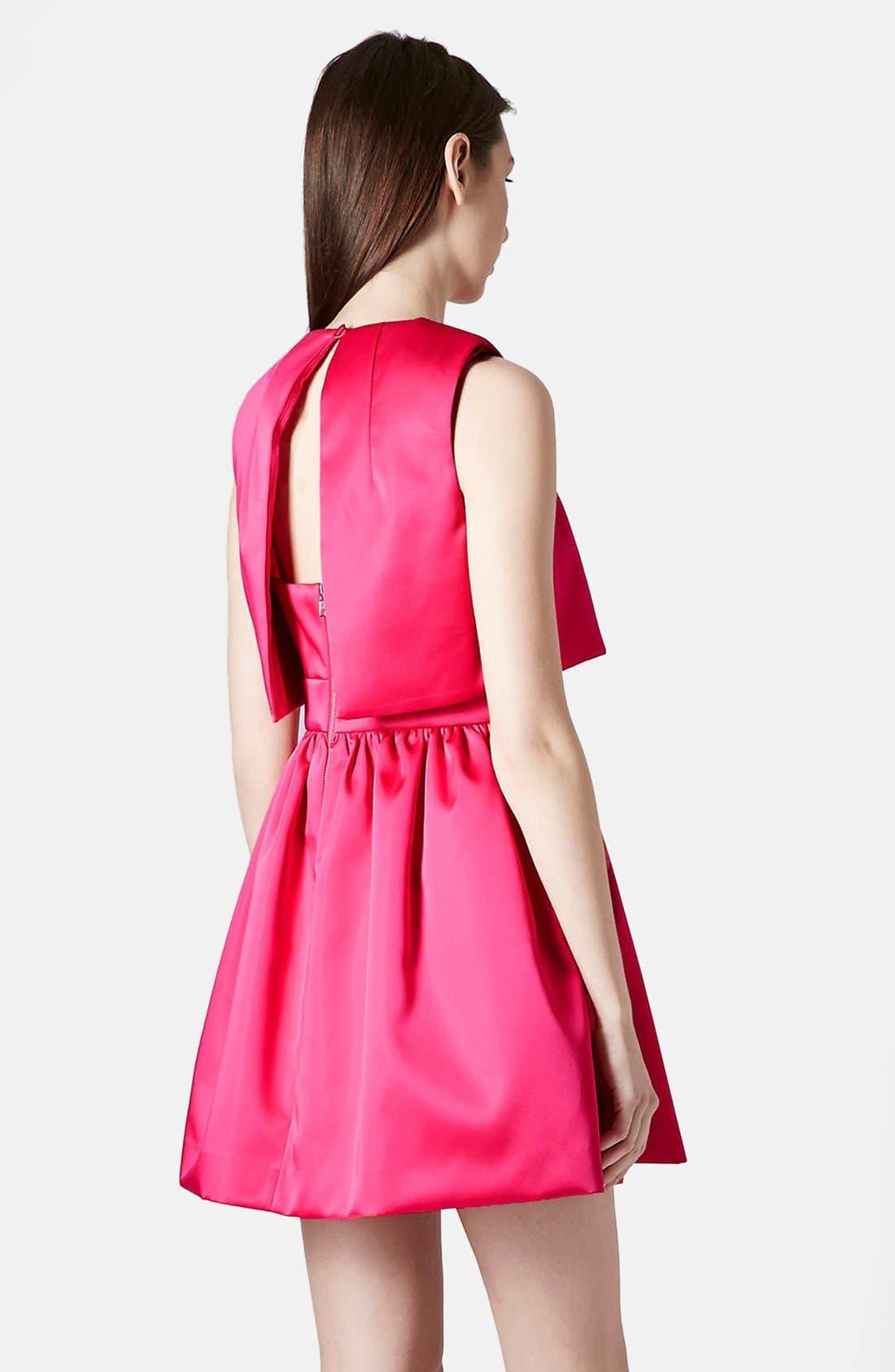 'Duchess' Crop Overlay Satin Skater Dress,                             Alternate thumbnail 2, color,                             Pink