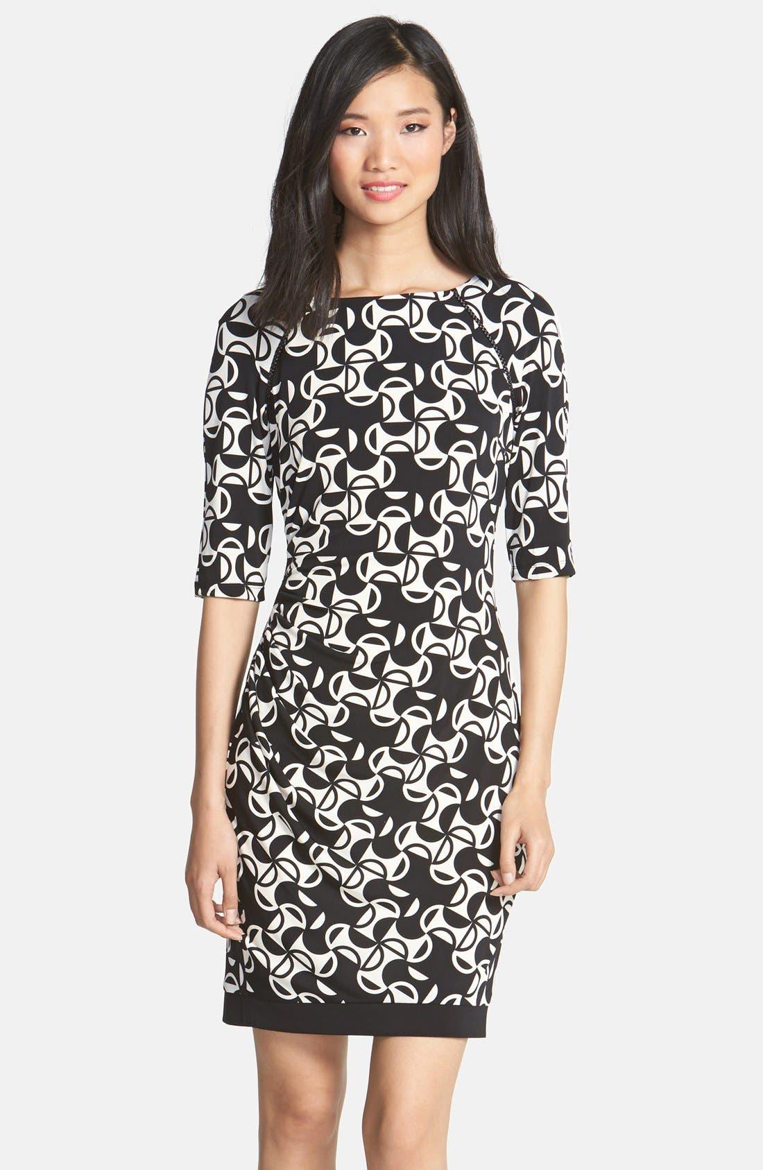 Main Image - Donna Morgan Print Matte Jersey Sheath Dress