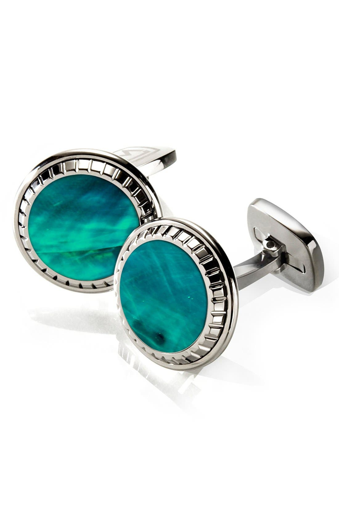 Abalone Cuff Links,                         Main,                         color, Stainless Steel/ Teal