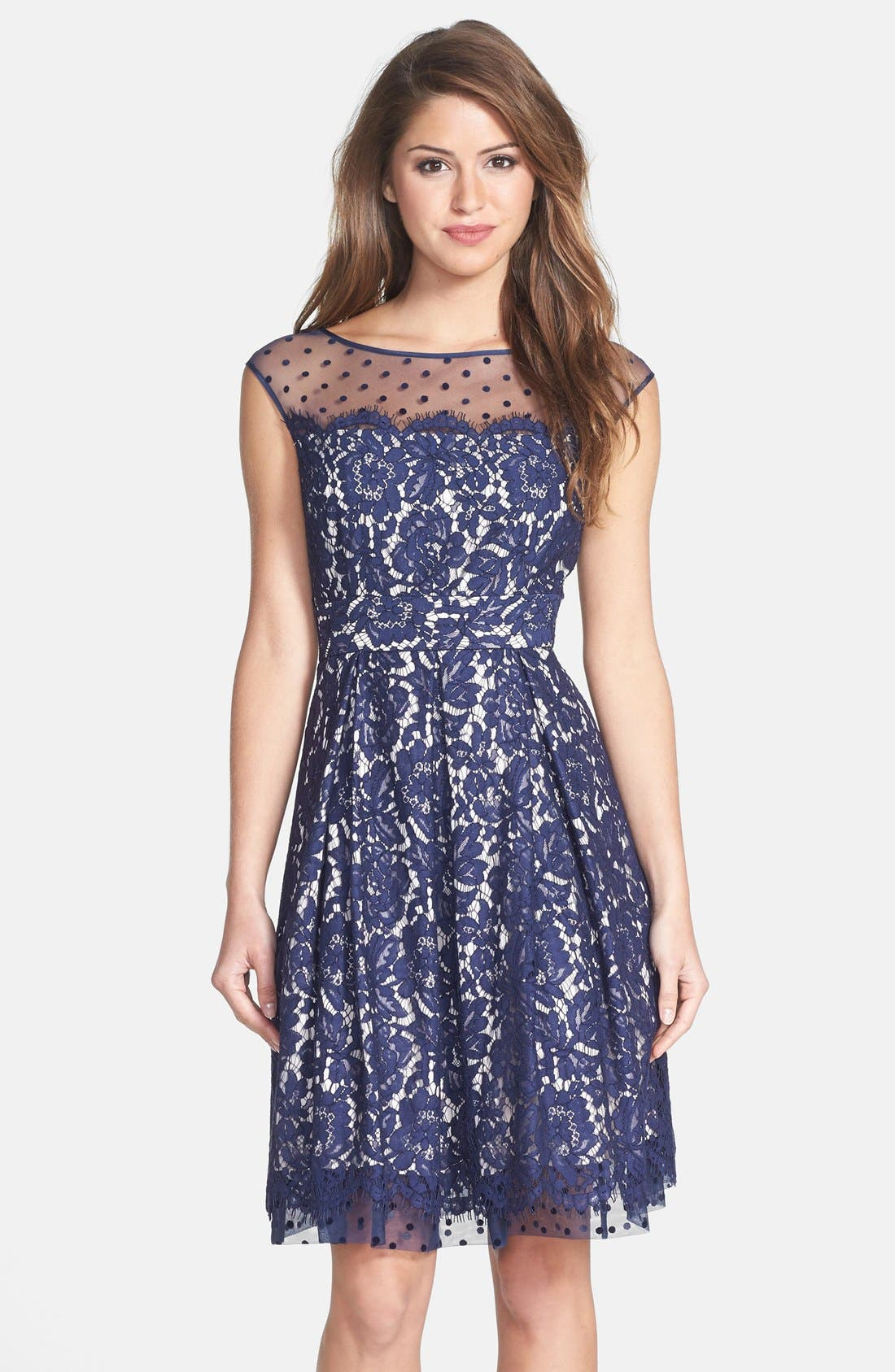 Main Image - Eliza J Illusion Yoke Lace Fit & Flare Dress