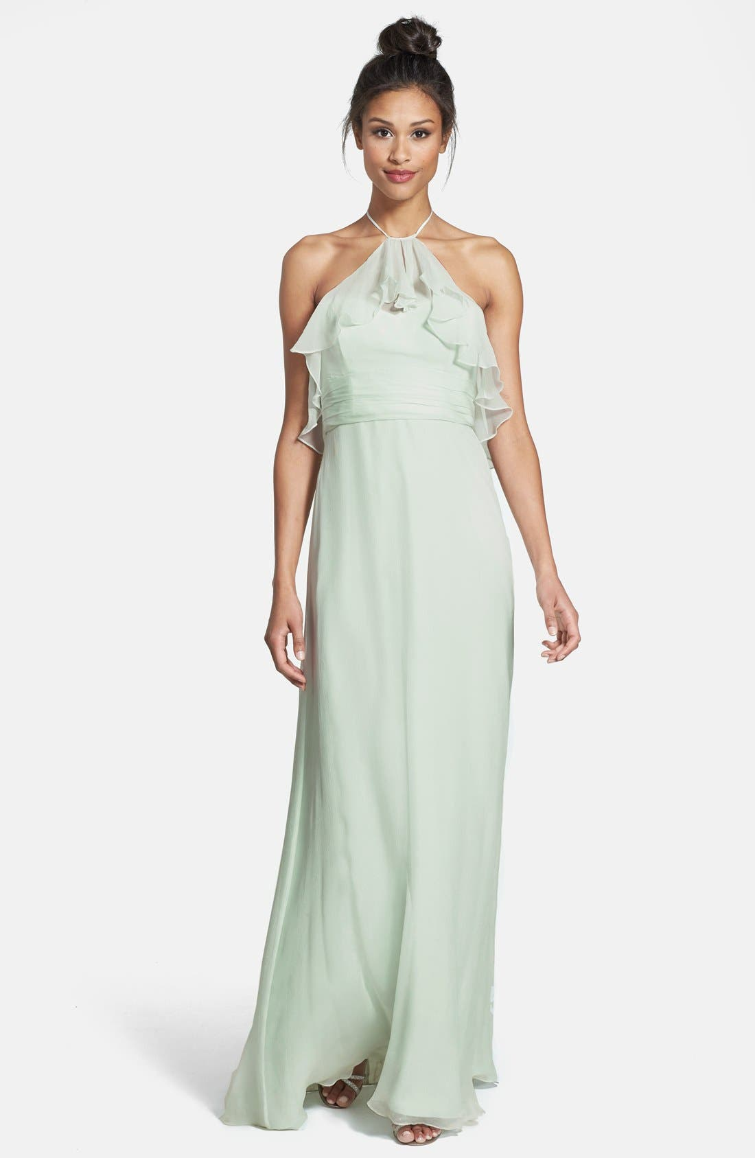 Alternate Image 1 Selected - Amsale Ruffle Crinkled Silk Chiffon Halter Gown