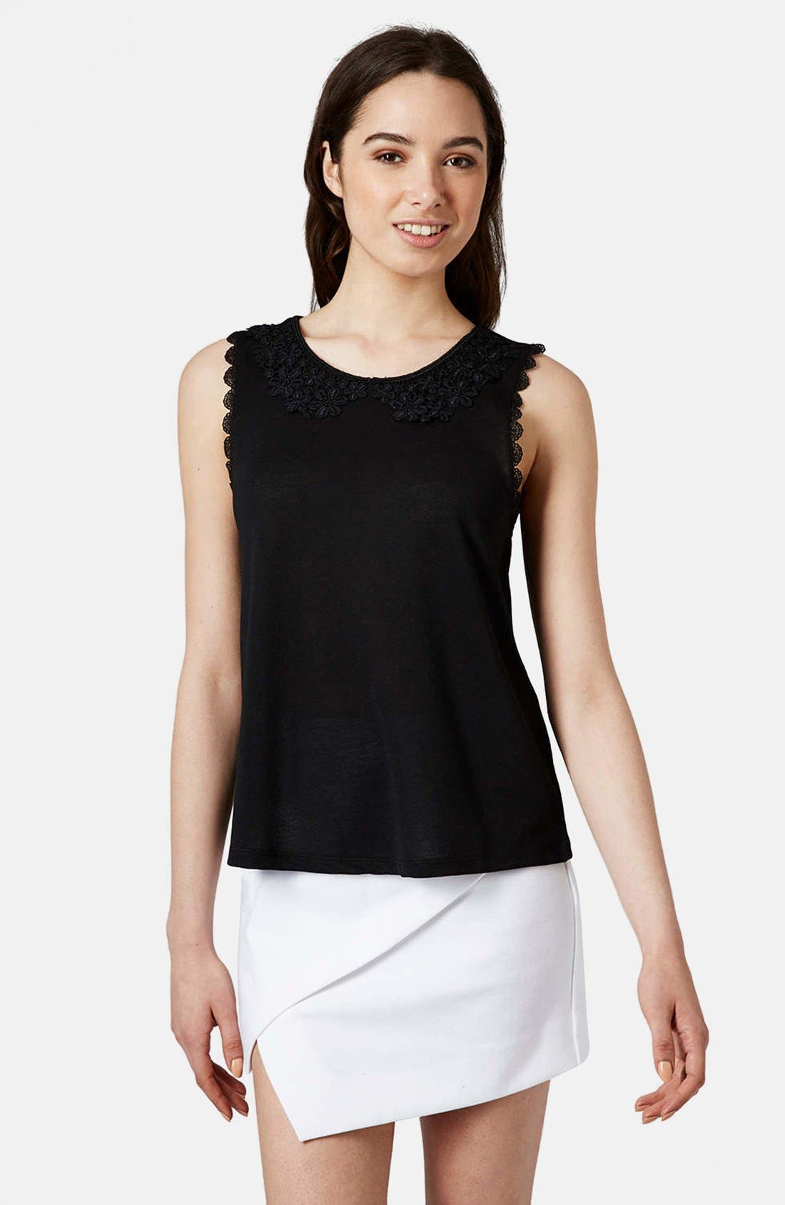 Alternate Image 1 Selected - Topshop Lace Collar Tank