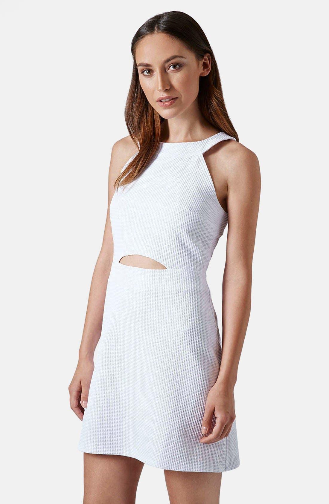 Main Image - Topshop Cutout Textured Skater Dress