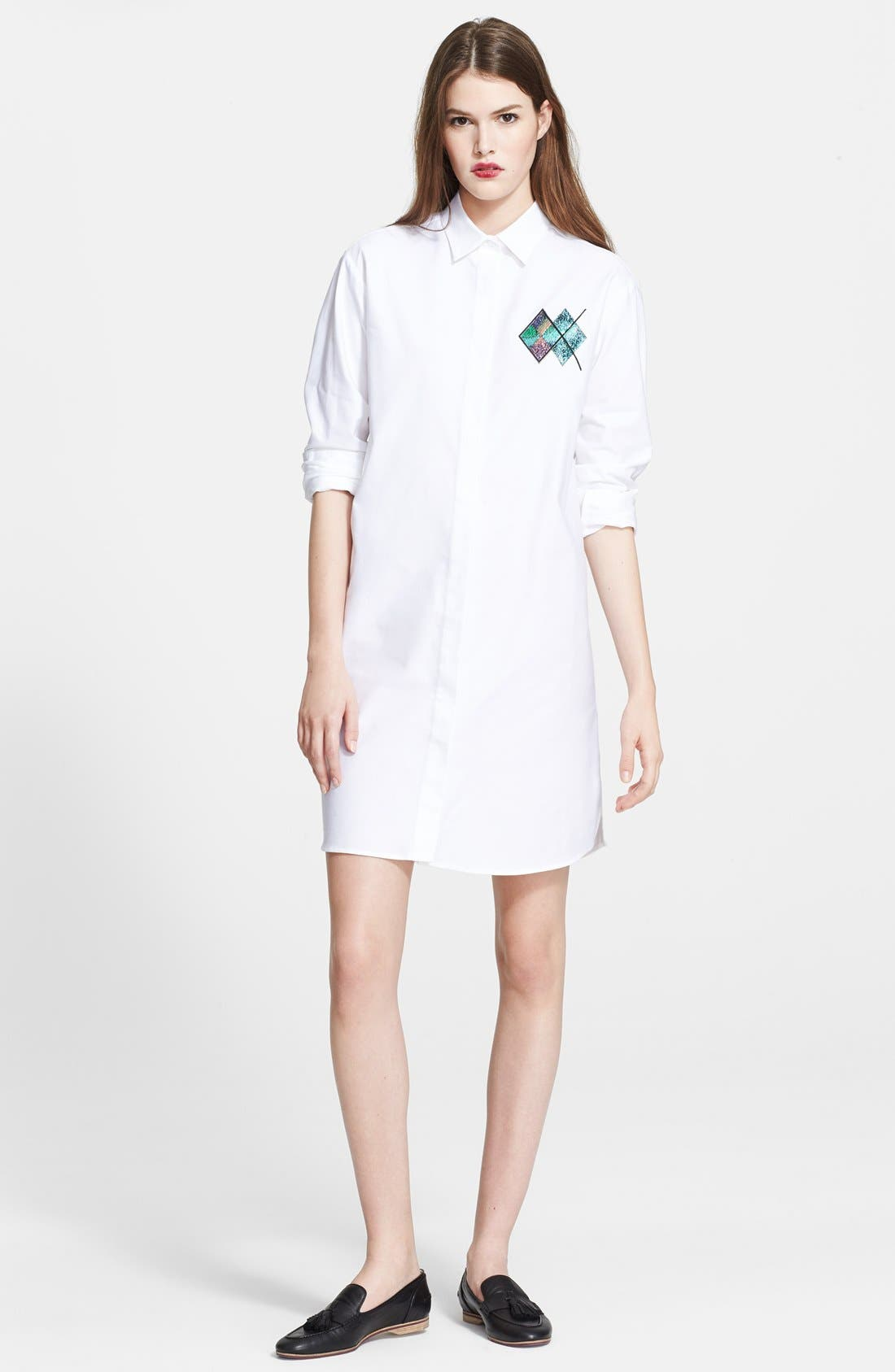 MSGM Appliqué Detail Cotton Shirtdress