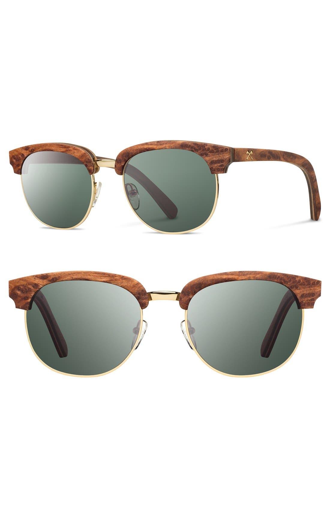 'Eugene' 54mm Polarized Wood Sunglasses,                         Main,                         color, Redwood Gold/ Polar