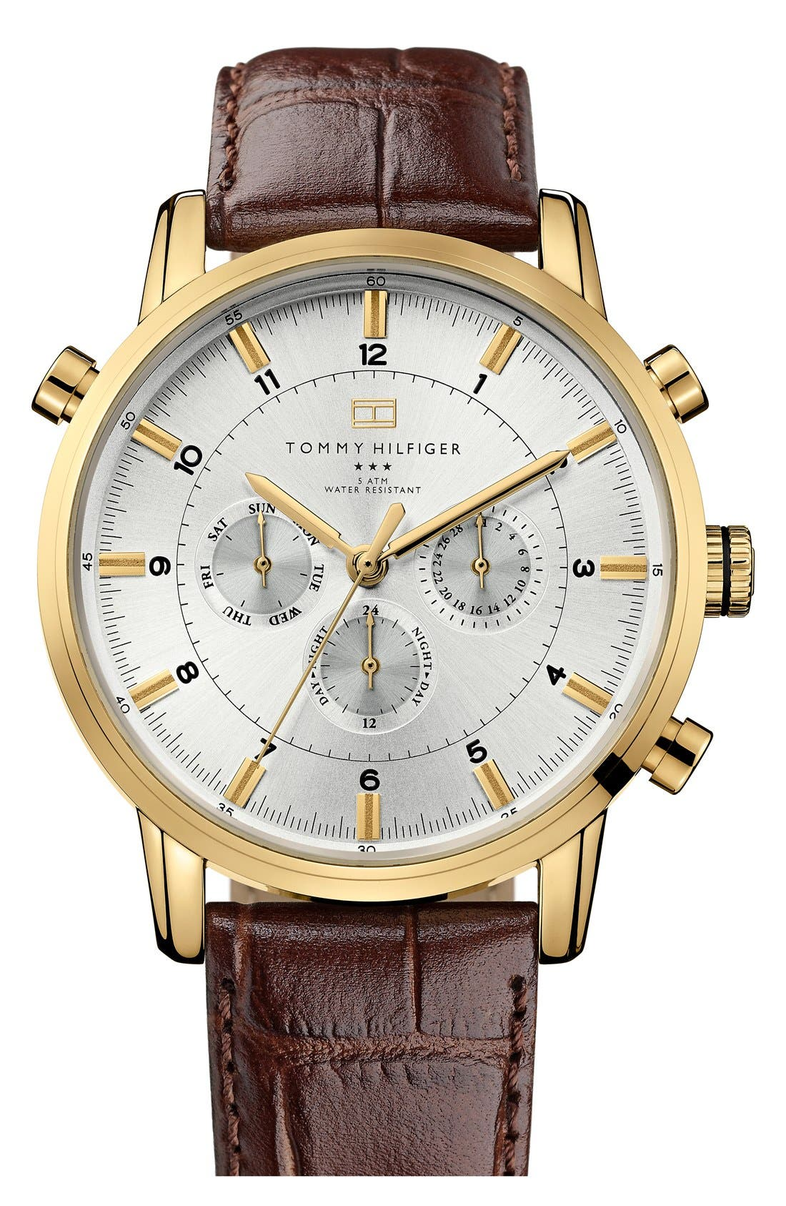Main Image - Tommy Hilfiger Round Chronograph Leather Strap Watch, 44mm