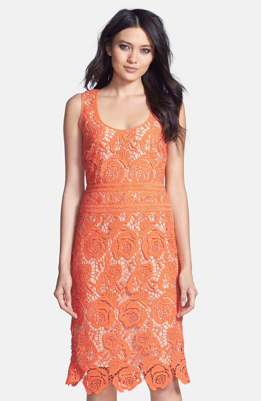 Main Image - Nicole Miller Neon Venetian Lace Sheath Dress