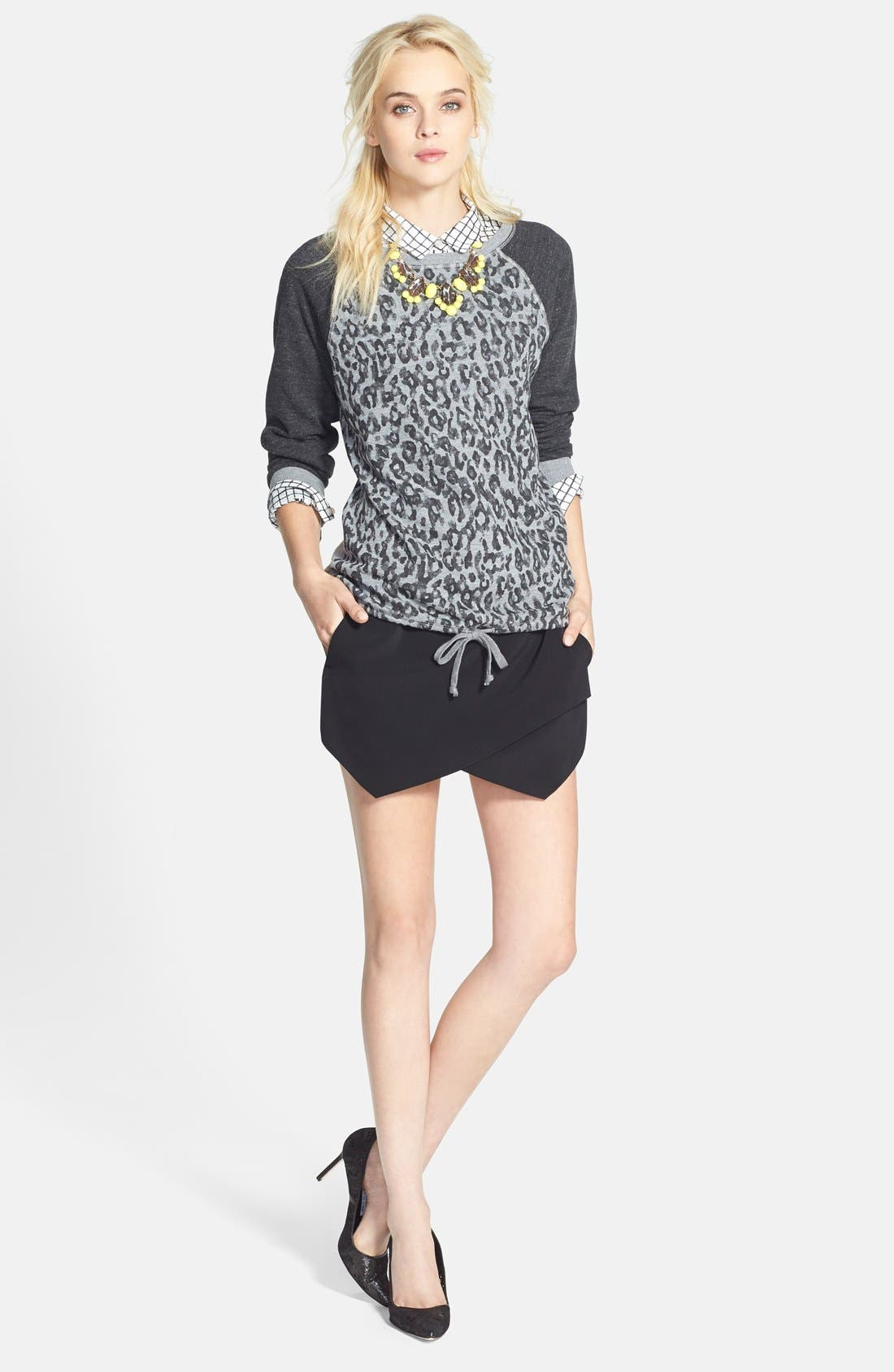 Alternate Image 5  - Halogen® Print Cotton & Silk Shirt (Regular & Petite)