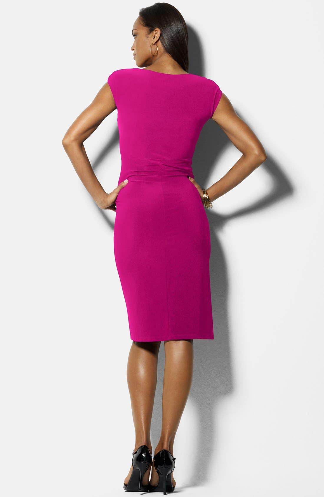 Alternate Image 2  - Lauren Ralph Lauren Cap Sleeve Matte Jersey Dress