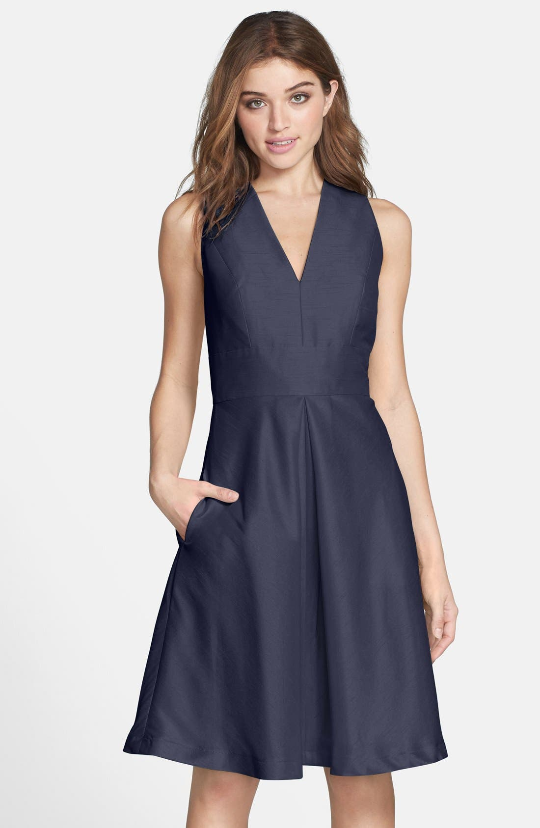V-Neck Dupioni Cocktail Dress,                         Main,                         color, Midnight