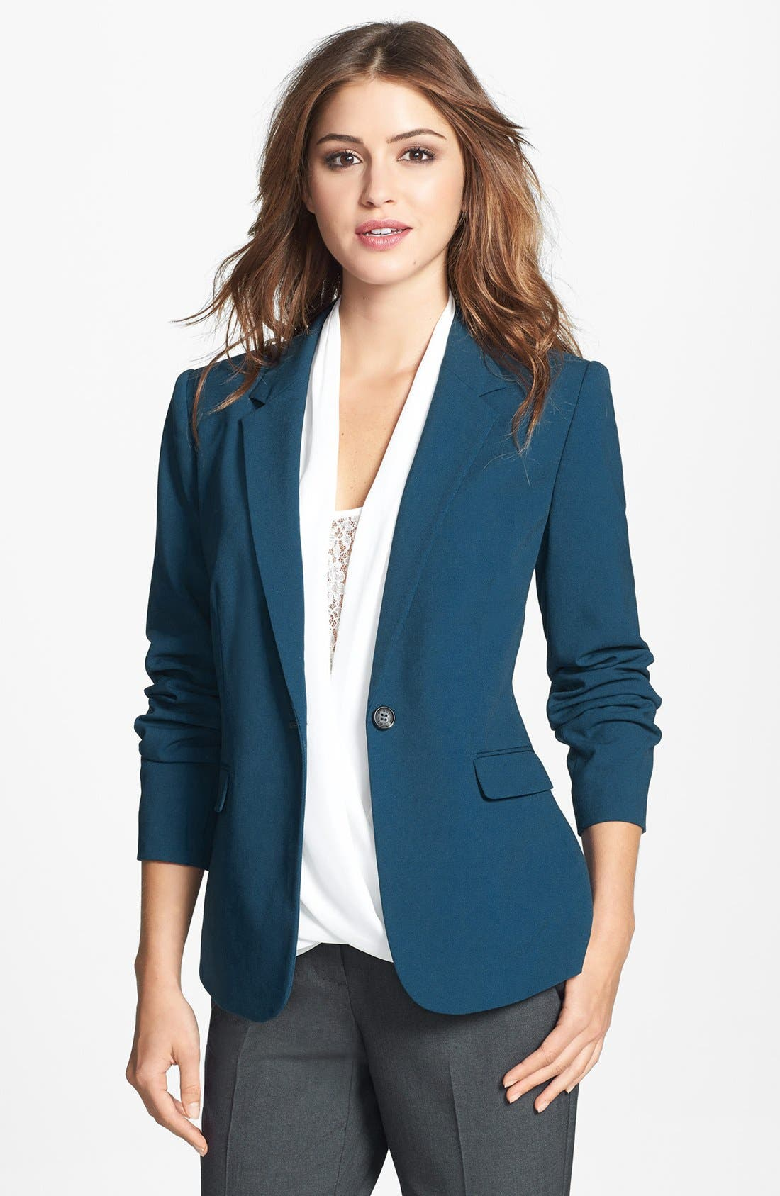 One-Button Blazer,                         Main,                         color, Night Shade