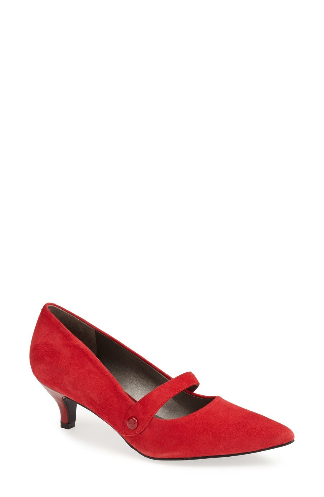 'Petra' Pump,                             Main thumbnail 1, color,                             Red Suede