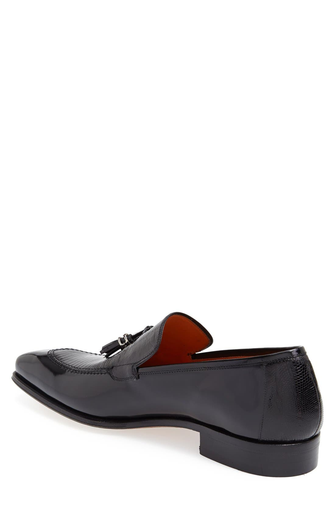 'Obrador' Lizard Leather Tassel Loafer,                             Alternate thumbnail 2, color,                             Black