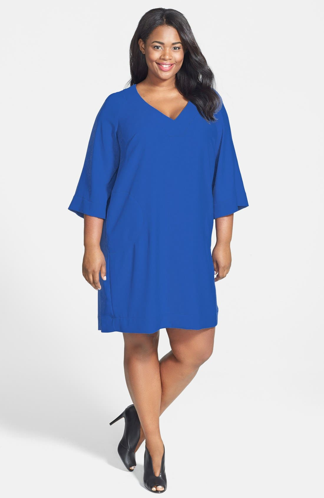 Alternate Image 1 Selected - Donna Ricco V-Neck Shift Dress (Plus Size)