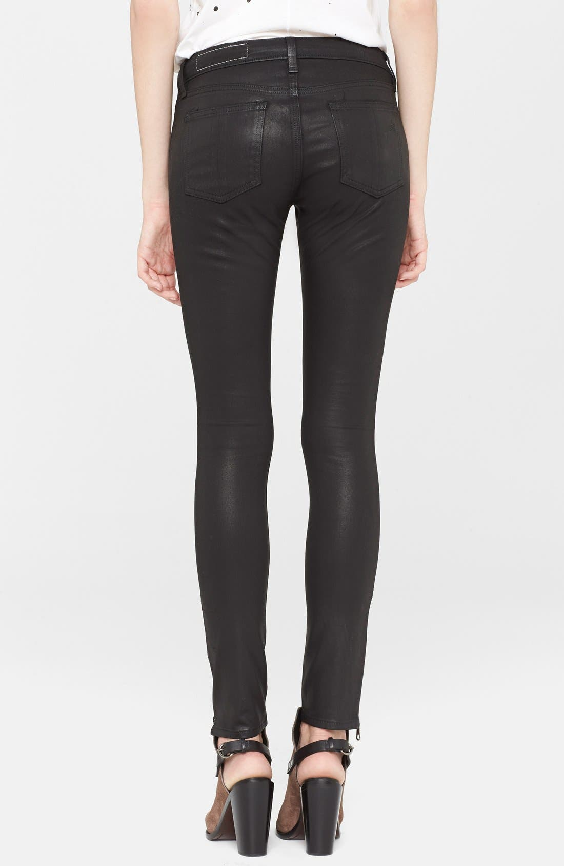 Alternate Image 2  - rag & bone/JEAN Coated Ankle Zip Skinny Jeans (Coated Black)