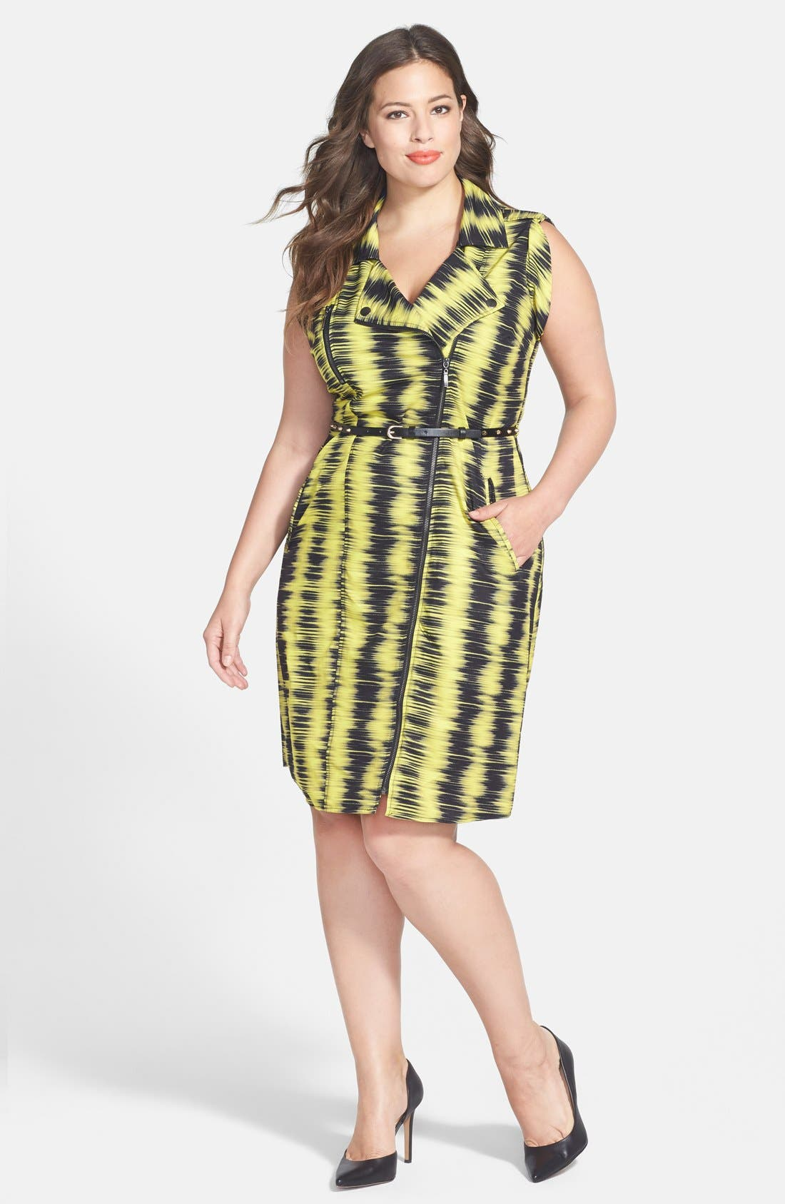 Alternate Image 1 Selected - City Chic 'Feel the Beat' Zip Front Dress (Plus Size)