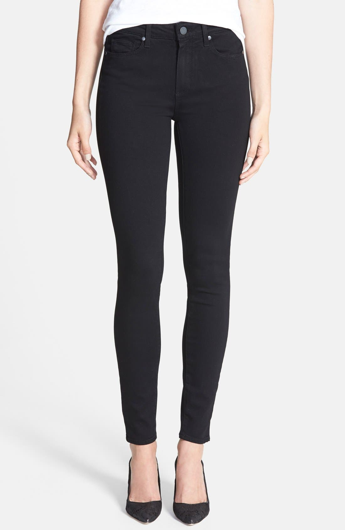 Main Image - PAIGE Transcend - Hoxton High Waist Ultra Skinny Stretch Jeans (Black Shadow)