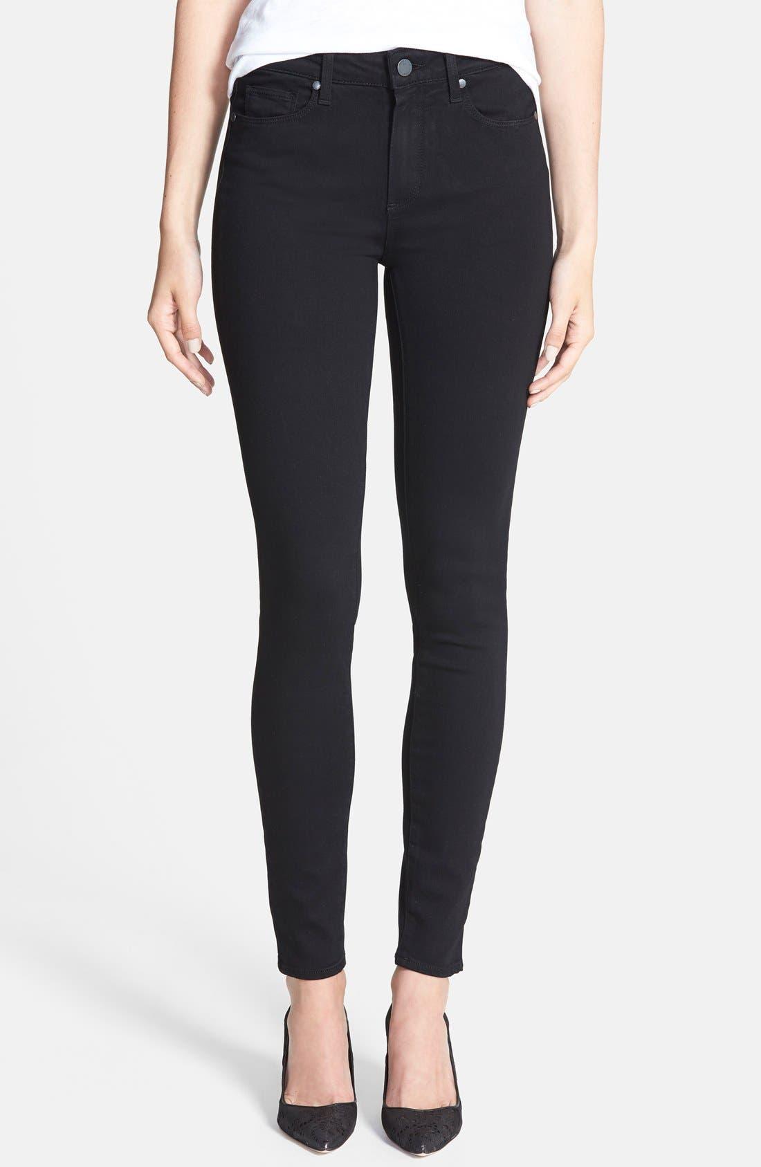 PAIGE Transcend - Hoxton High Waist Ultra Skinny Stretch Jeans (Black Shadow)