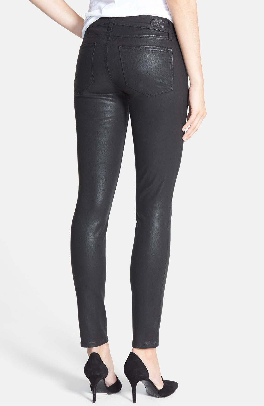 'Edgemont' Coated Ultra Skinny Jeans,                             Alternate thumbnail 2, color,                             Black Silk