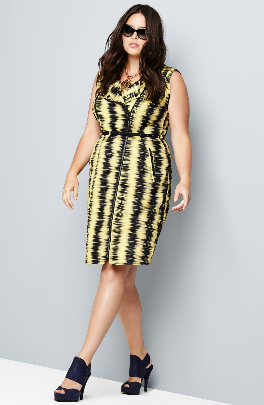 Alternate Image 4  - City Chic 'Feel the Beat' Zip Front Dress (Plus Size)