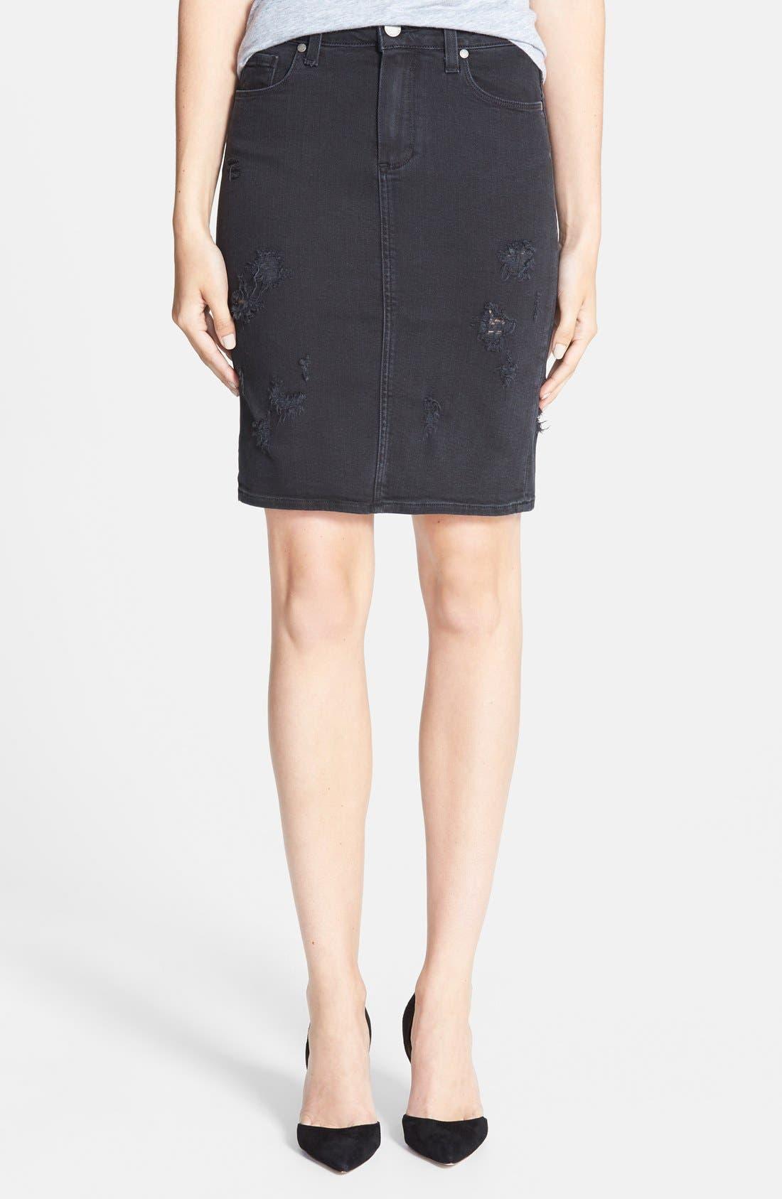 Alternate Image 1 Selected - Paige Denim 'Deirdre' Destroyed Denim Pencil Skirt (Ramone Destructed)