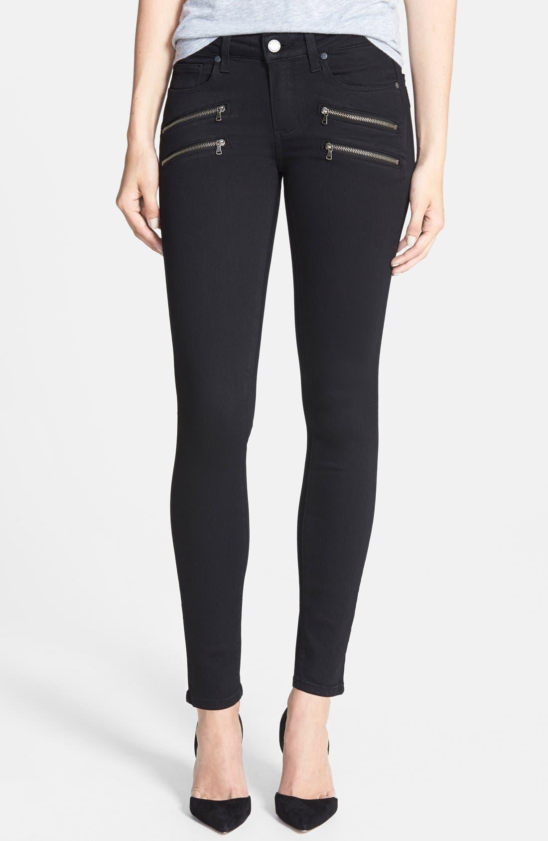 Main Image - PAIGE Transcend - Edgemont Ultra Skinny Jeans (Black Shadow)