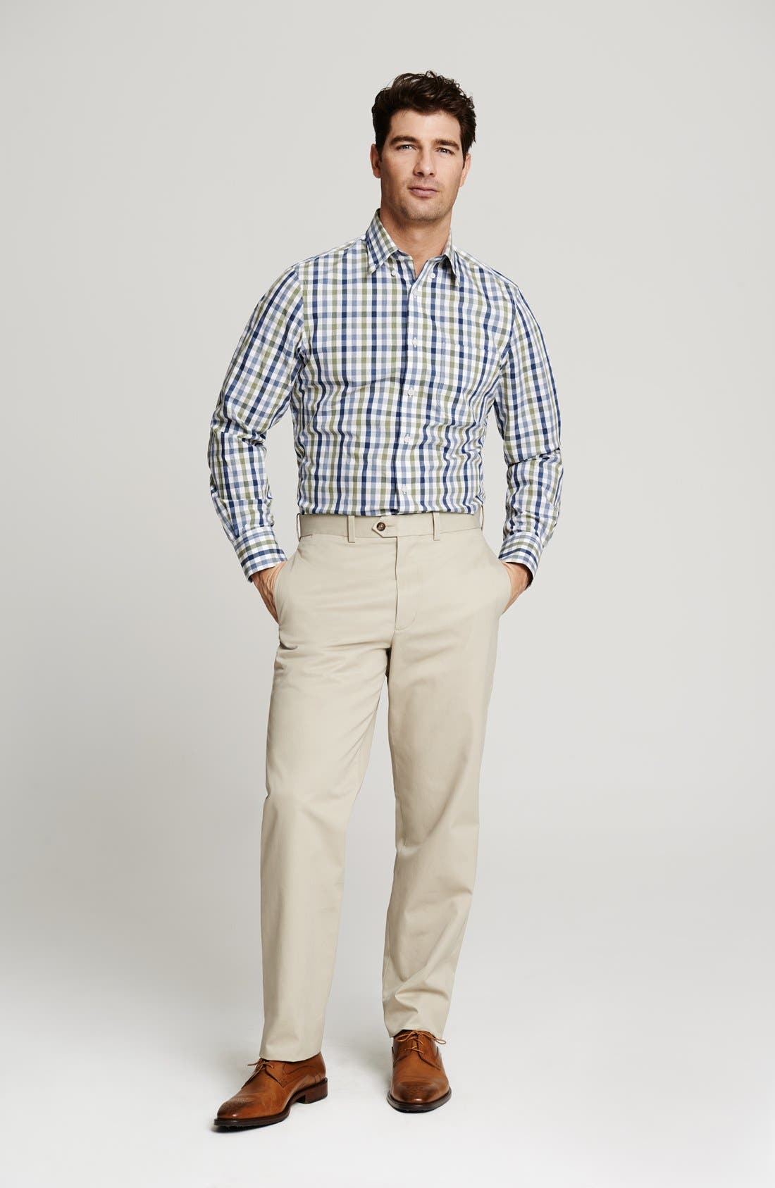 Alternate Image 5  - John W. Nordstrom® Smartcare™ Flat Front Supima® Cotton Pants