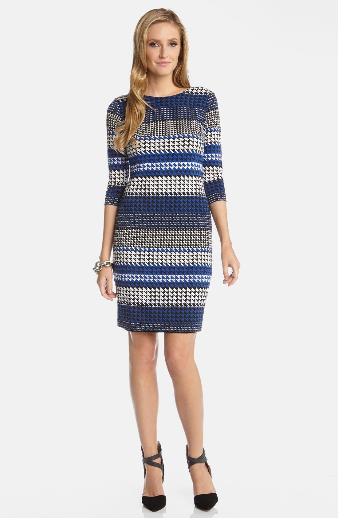 Alternate Image 1 Selected - Karen Kane 'Lunar Houndstooth' Stripe Print Stretch Knit Sheath Dress
