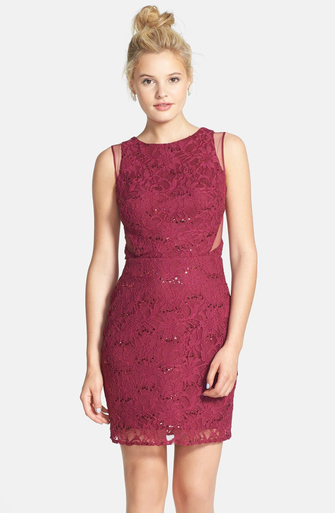 Alternate Image 1 Selected - Hailey Logan Mesh Inset Sequin Lace Sheath Dress (Juniors) (Online Only)