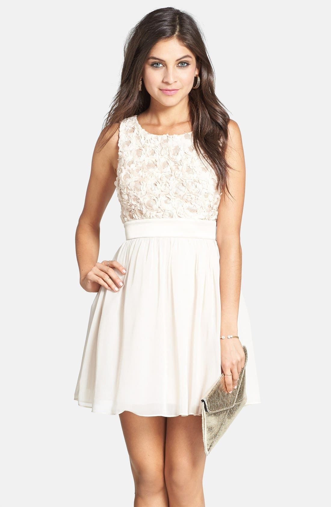 Rosette Bodice Skater Dress,                         Main,                         color, Champange