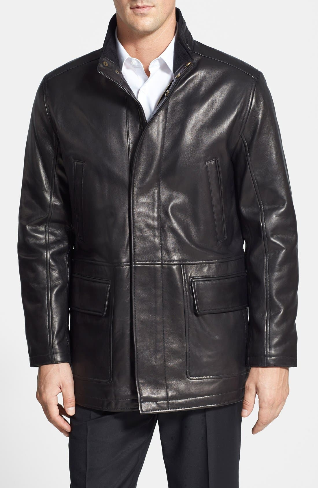 Cole Haan Lambskin Leather Car Coat | Nordstrom