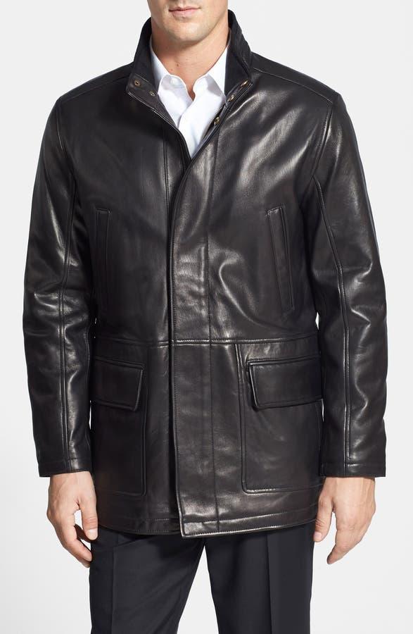Cole Haan Lambskin Leather Car Coat | Nordstrom