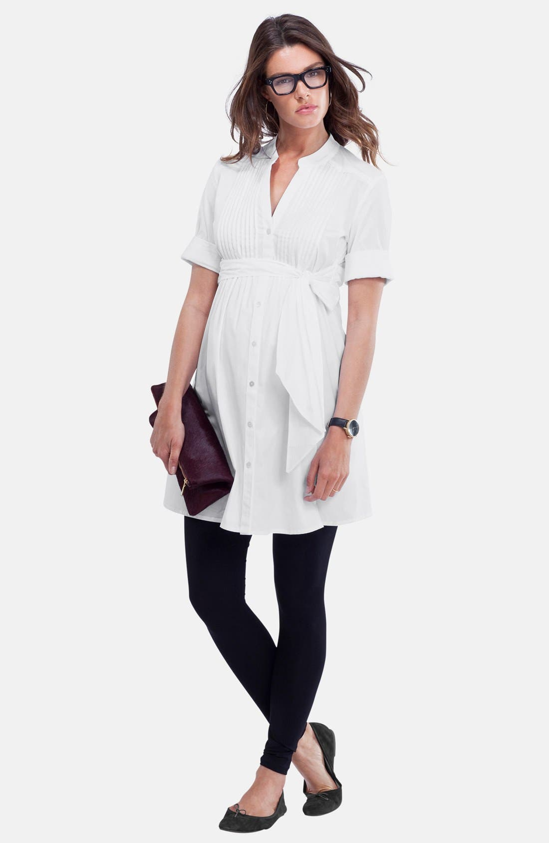'Libby' Pleated Maternity Tunic,                             Alternate thumbnail 2, color,                             Pure White