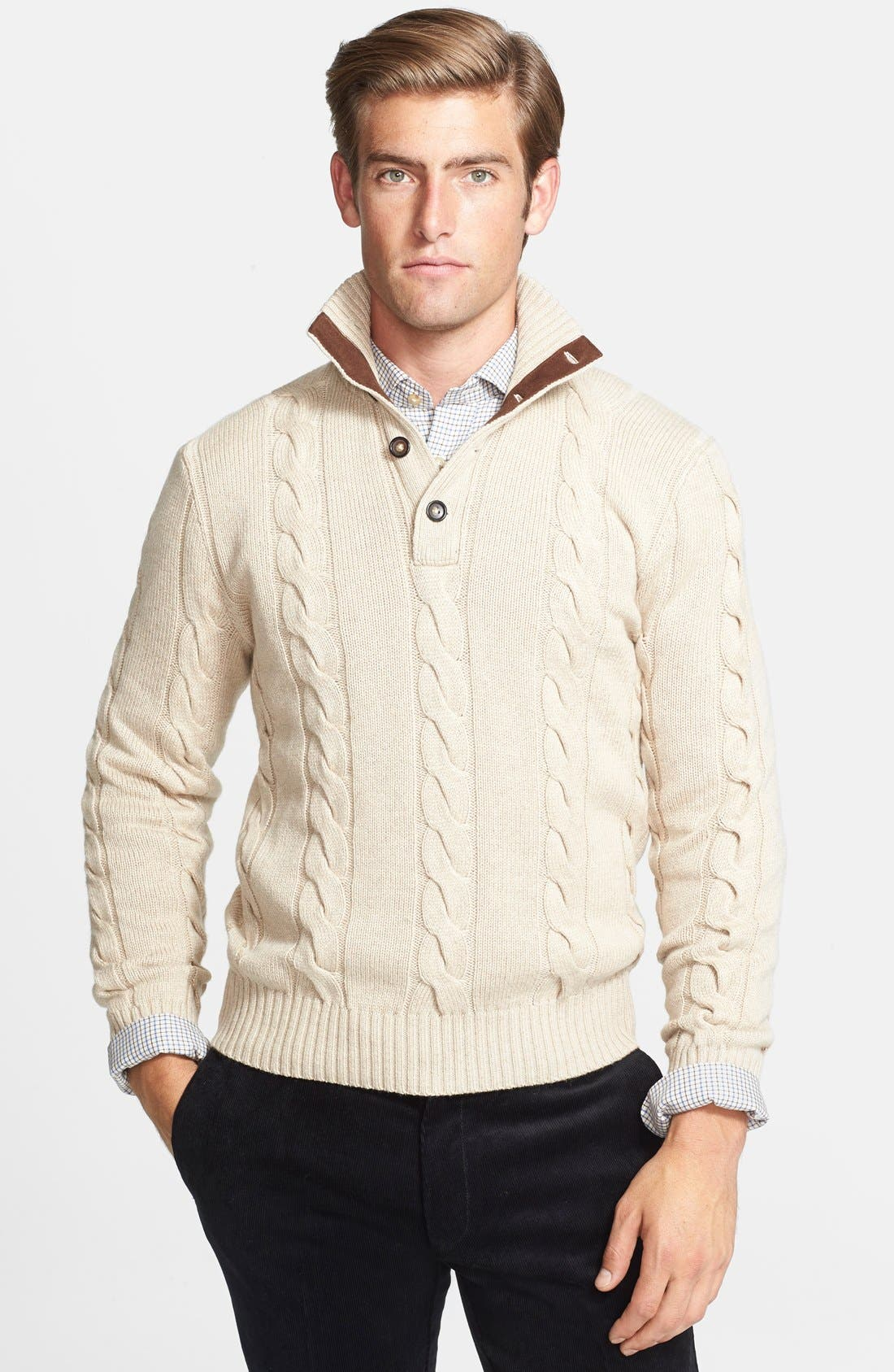 Alternate Image 1 Selected - Polo Ralph Lauren Silk & Cashmere Cable Knit Sweater