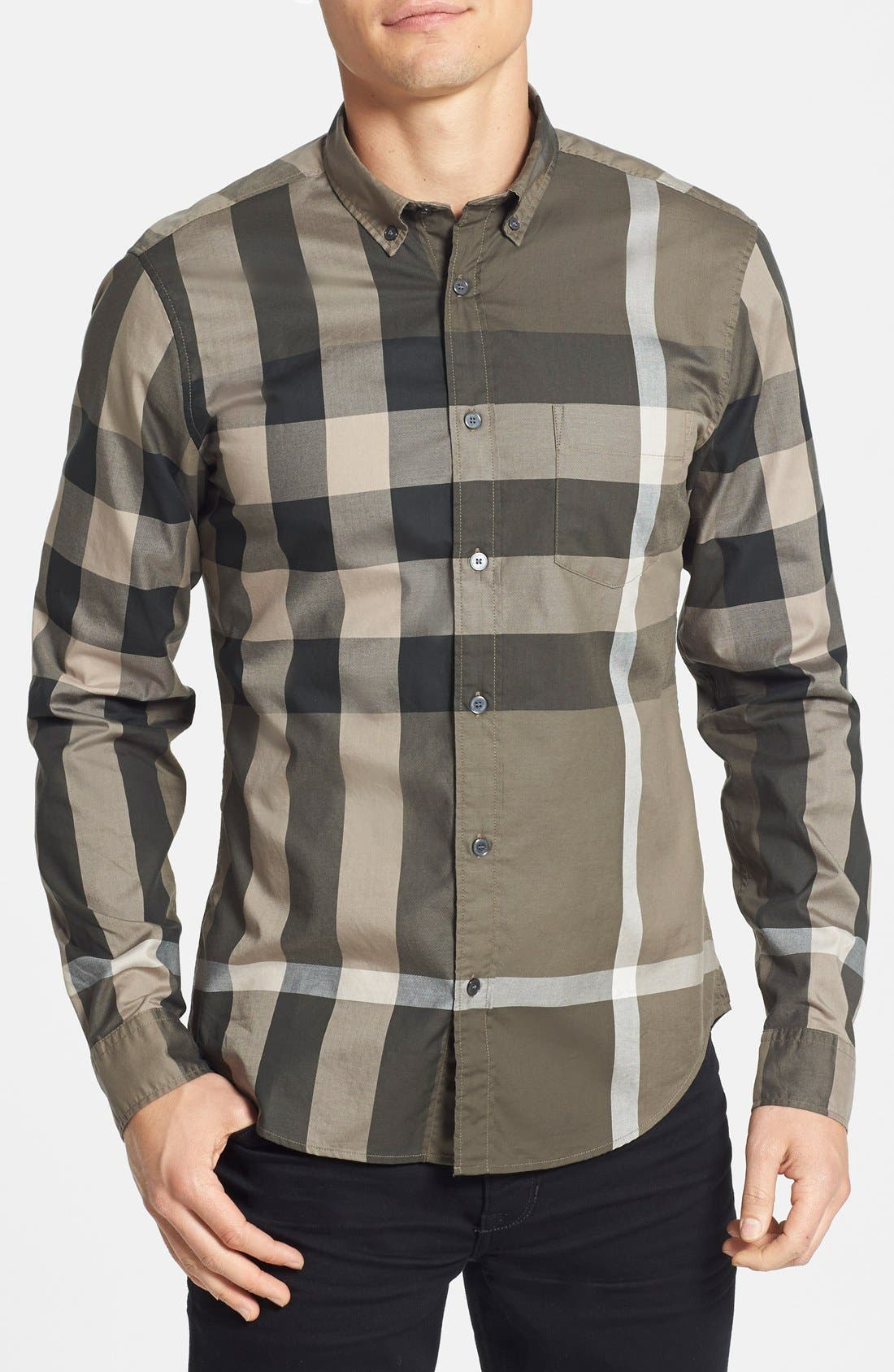 Main Image - Burberry Brit 'Fred' Trim Fit Check Cotton Sport Shirt