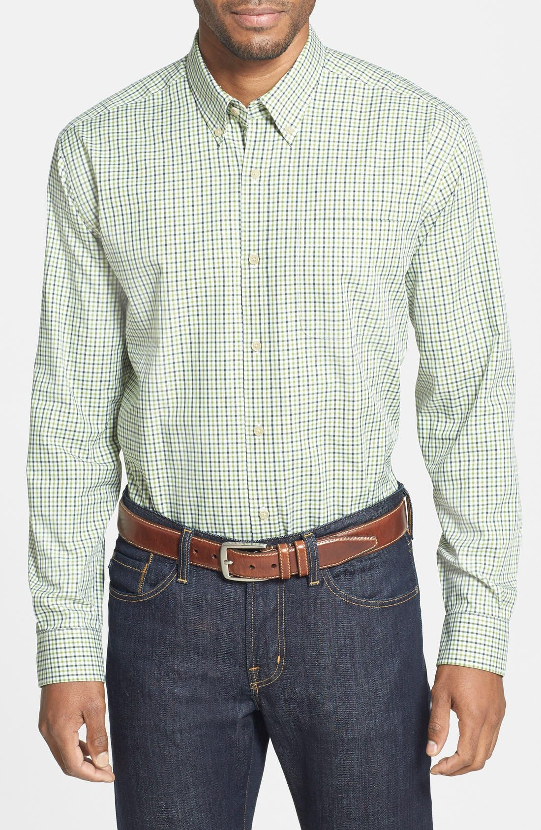 Main Image - Cutter & Buck 'Isley' Classic Fit Check Twill Sport Shirt (Big & Tall)