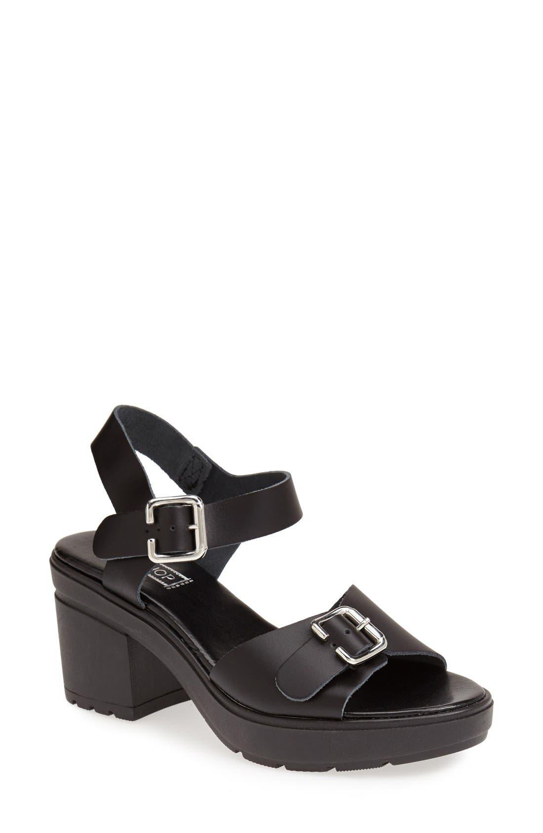 Main Image - Topshop 'Niece' Platform Leather Sandal (Women)