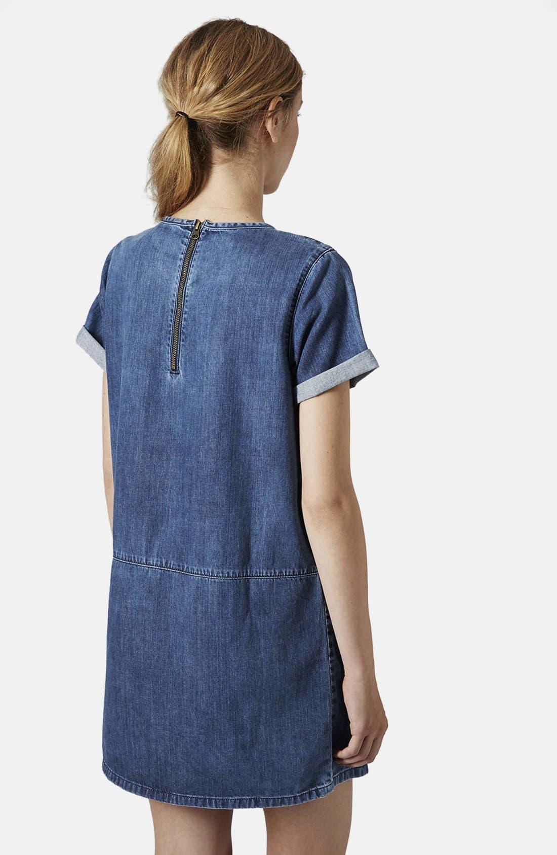 Alternate Image 2  - Topshop Moto Denim T-Shirt Dress