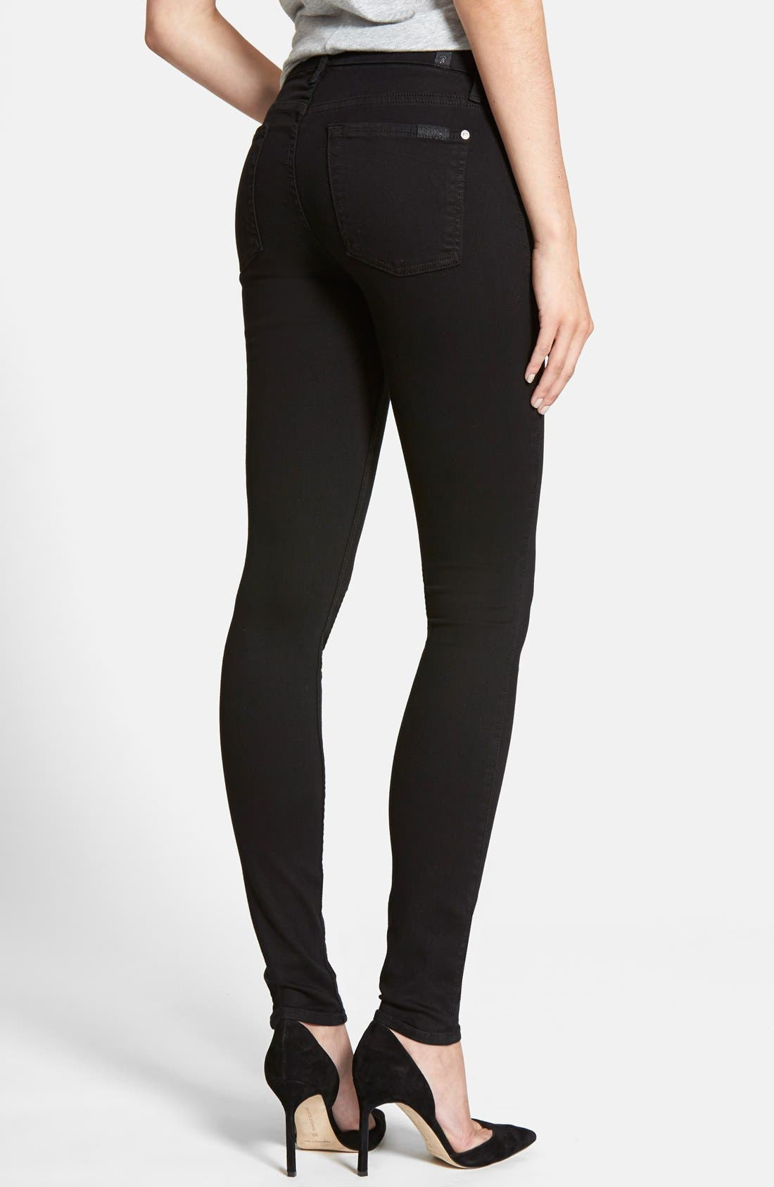 Alternate Image 2  - 7 For All Mankind® 'Slim Illusion Luxe' High Waist Skinny Jeans (Black)