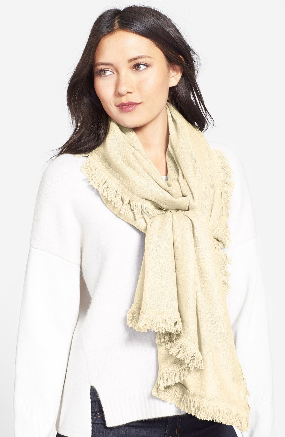 Wool & Cashmere Scarf,                         Main,                         color, Ivory