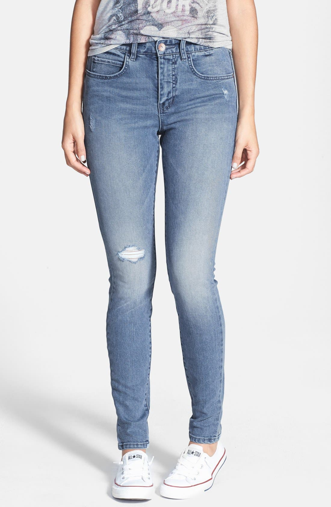 Alternate Image 1 Selected - Billabong 'Night Hawks' Skinny Jeans (Light Wash) (Juniors)