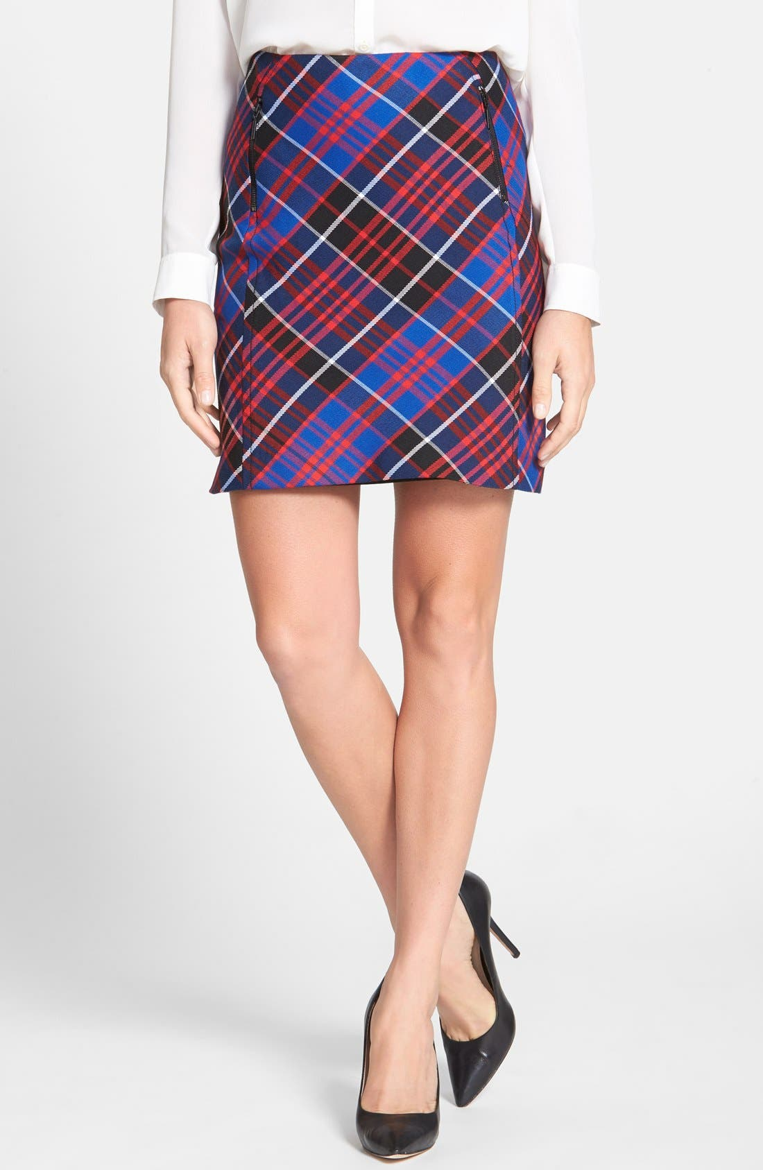 Alternate Image 1 Selected - Anne Klein Zip Detail Plaid Skirt