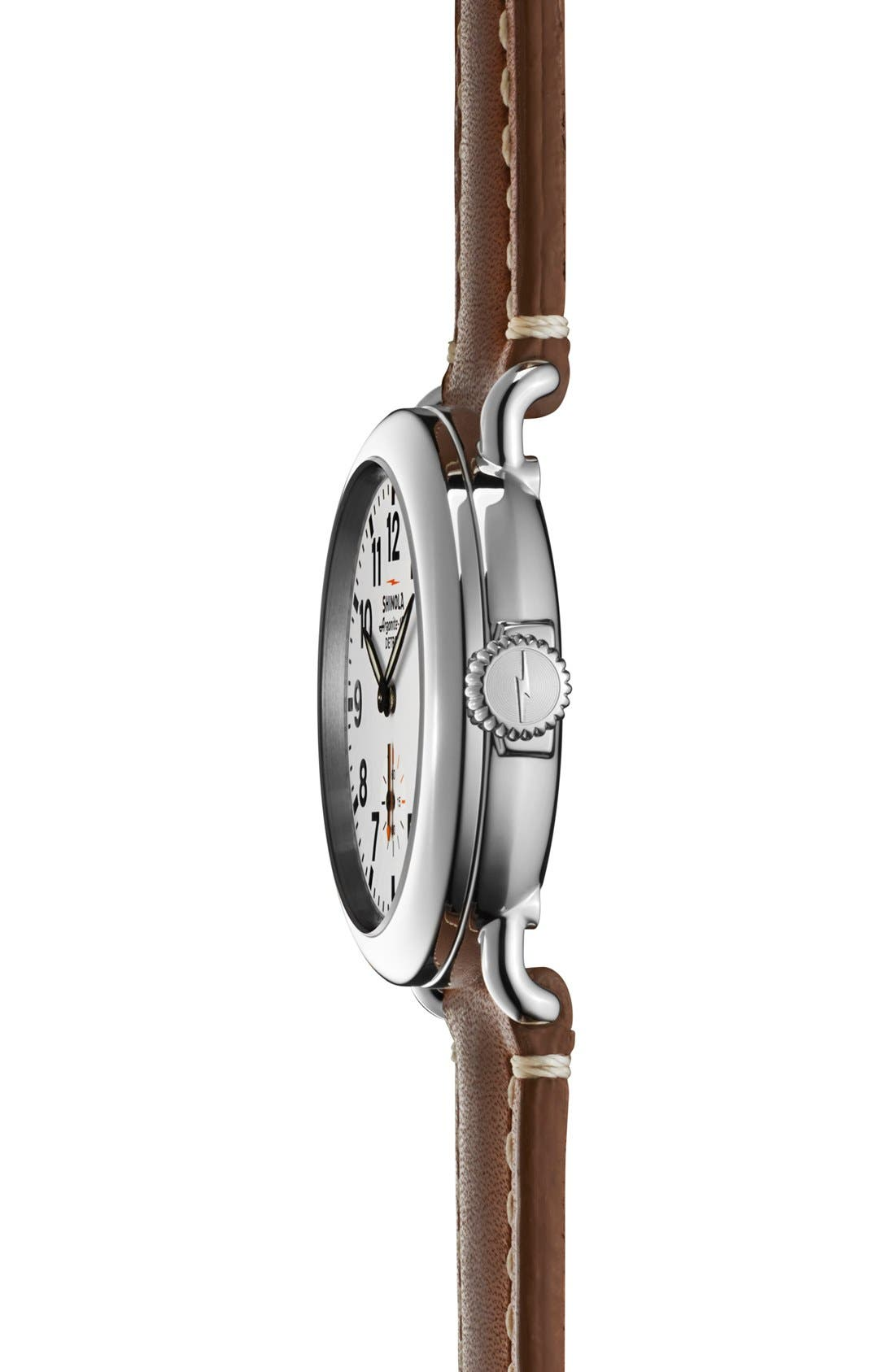 The Runwell Leather Strap Watch, 36mm,                             Alternate thumbnail 3, color,                             Brown/ White