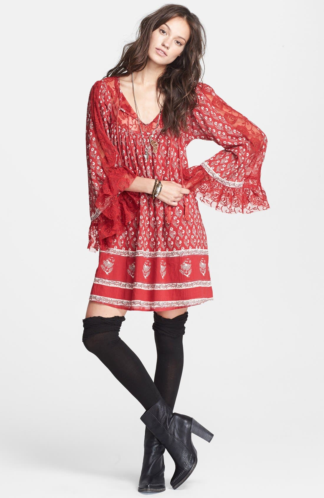 Main Image - Free People Floral Print Butterfly Sleeve Cotton Dress