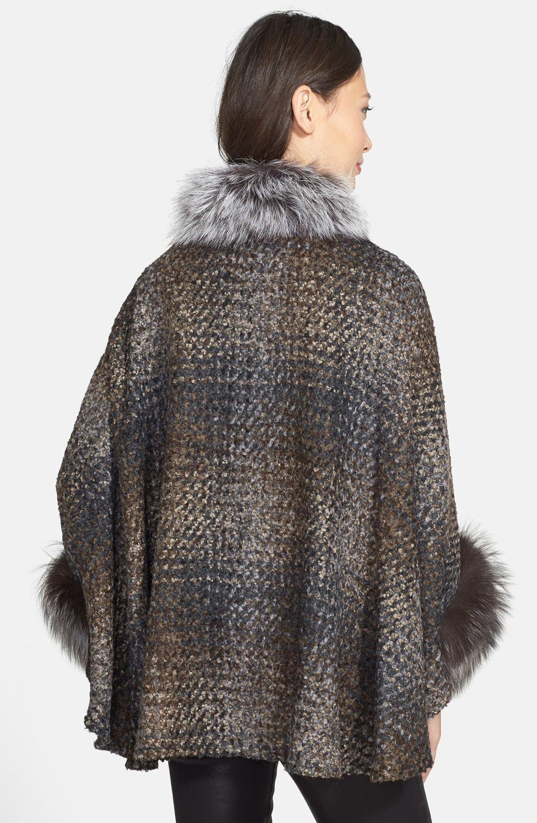 Alternate Image 2  - HIDESOCIETY Genuine Fox Fur Trim Plaid Bouclé Cape