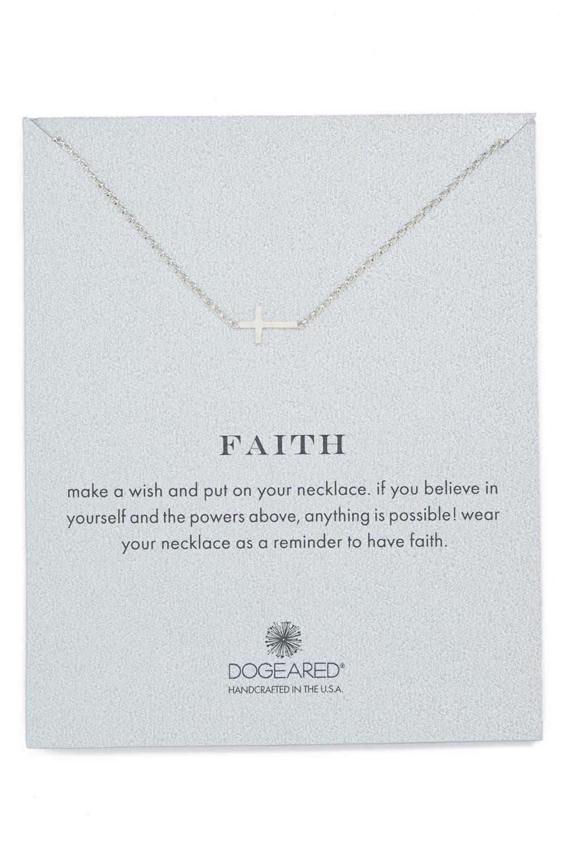 Dogeared 'Reminder - Faith' Sideways Cross Pendant Necklace