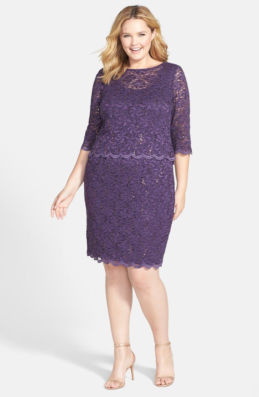 Alternate Image 1 Selected - Alex Evenings Embellished Lace Sheath Dress (Plus Size)
