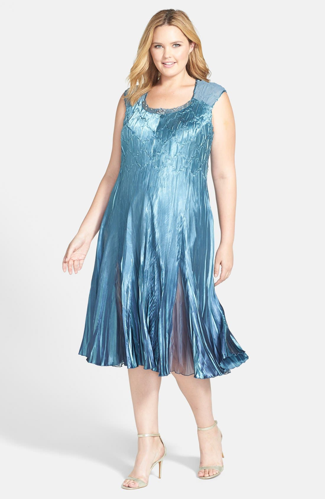 Embellished Charmeuse & Chiffon Dress with Jacket,                             Alternate thumbnail 3, color,                             Silver/ Blue Ombre