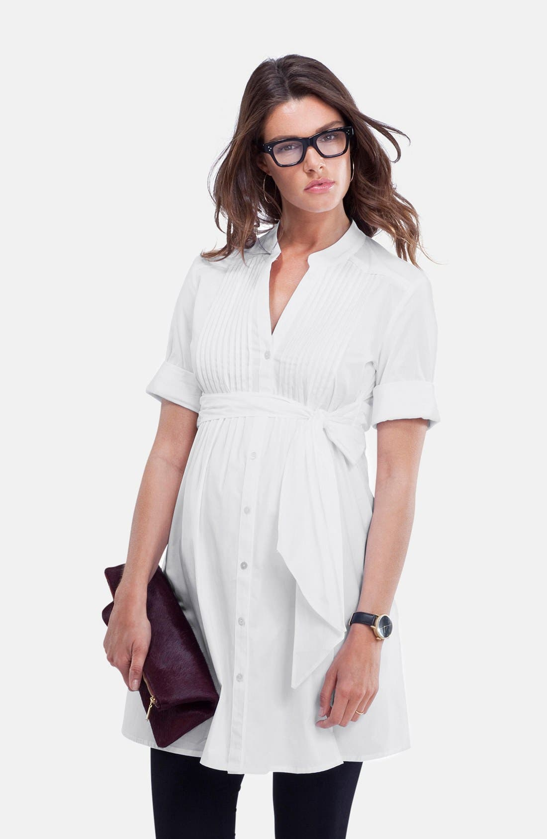 'Libby' Pleated Maternity Tunic,                             Main thumbnail 1, color,                             Pure White